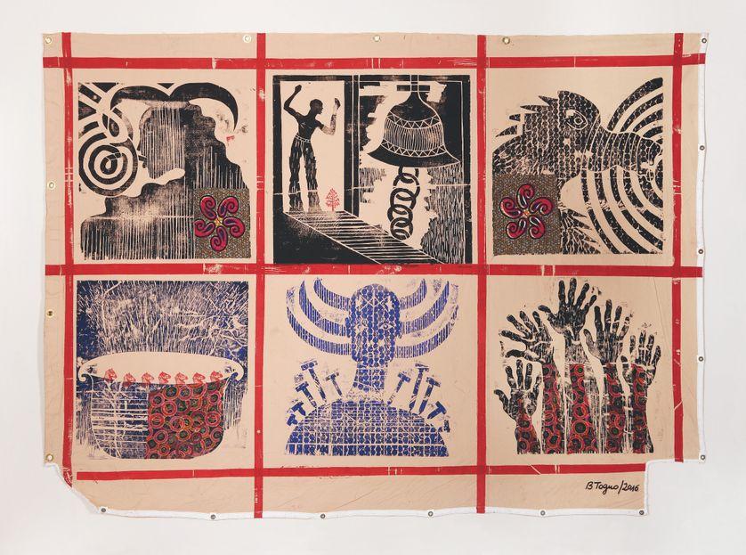 Barthélémy Toguo, Alive in a box, 2016, empreinte de gravure sur bois et collage
