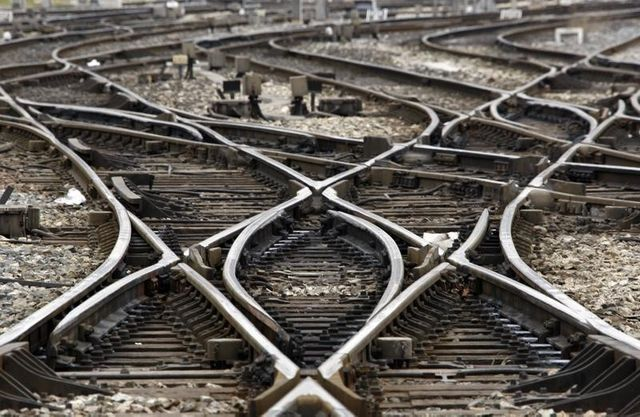 empty tracks are seen at marseille's railway station during a national strike