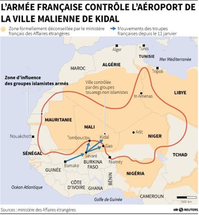 l'armée française contrôle l'aéroport de la ville malienne de kidal