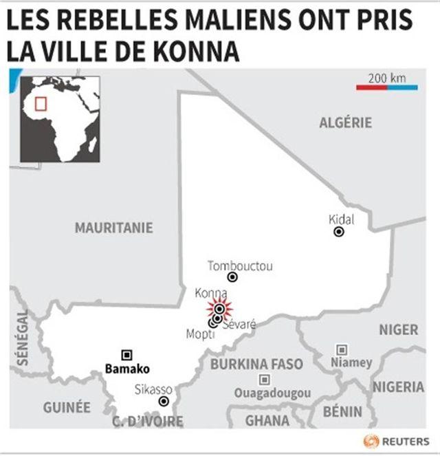 les rebelles maliens ont pris la ville de konna