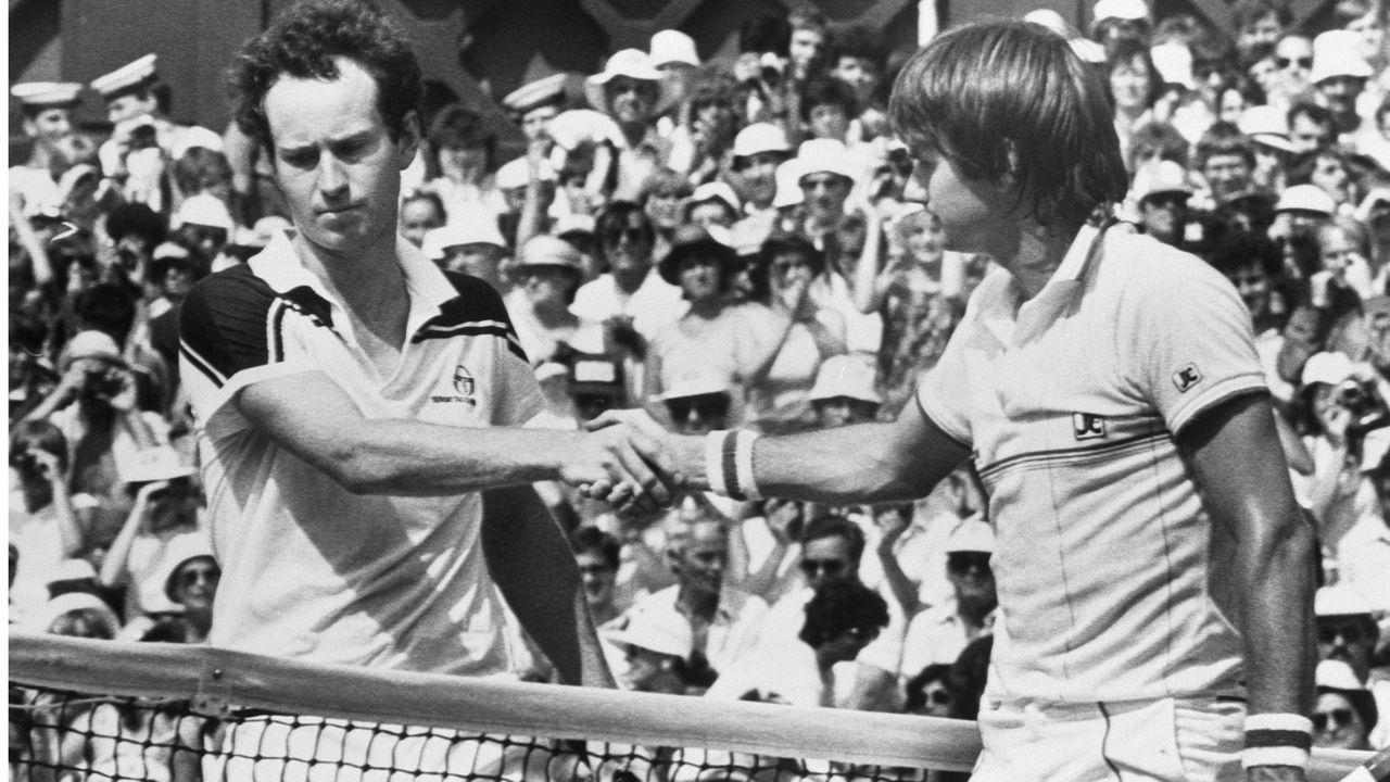 John McEnroe et Jimmy Connors en 1984 à Wimbledon.