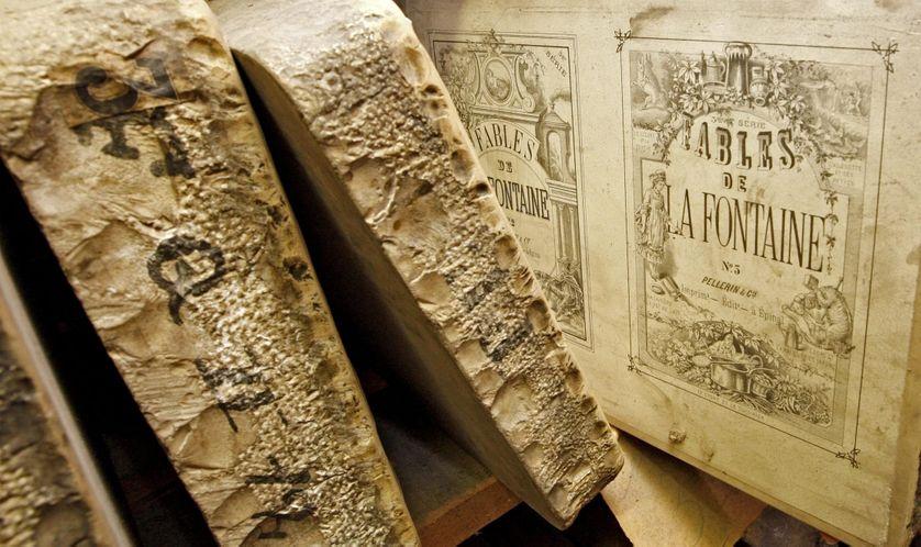 Pierre de lithographie des fables de La Fontaine