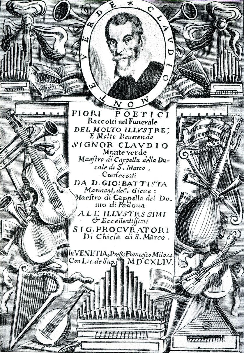 Frontispice d'une partition de Claudio Monteverdi