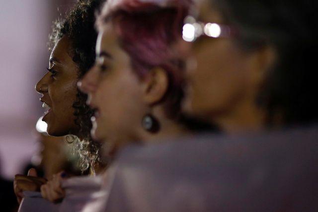 Manifestation contre les violences faites au femmes, à Rio de Janeiro, au Brésil. 27 mai 2016.