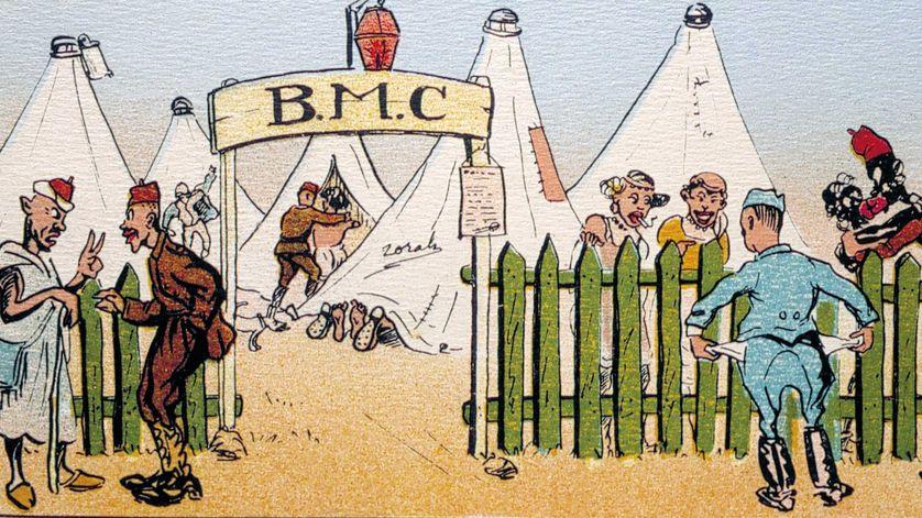 Le B.M.C. (bordel militaire de campagne) au Maroc en 1905.