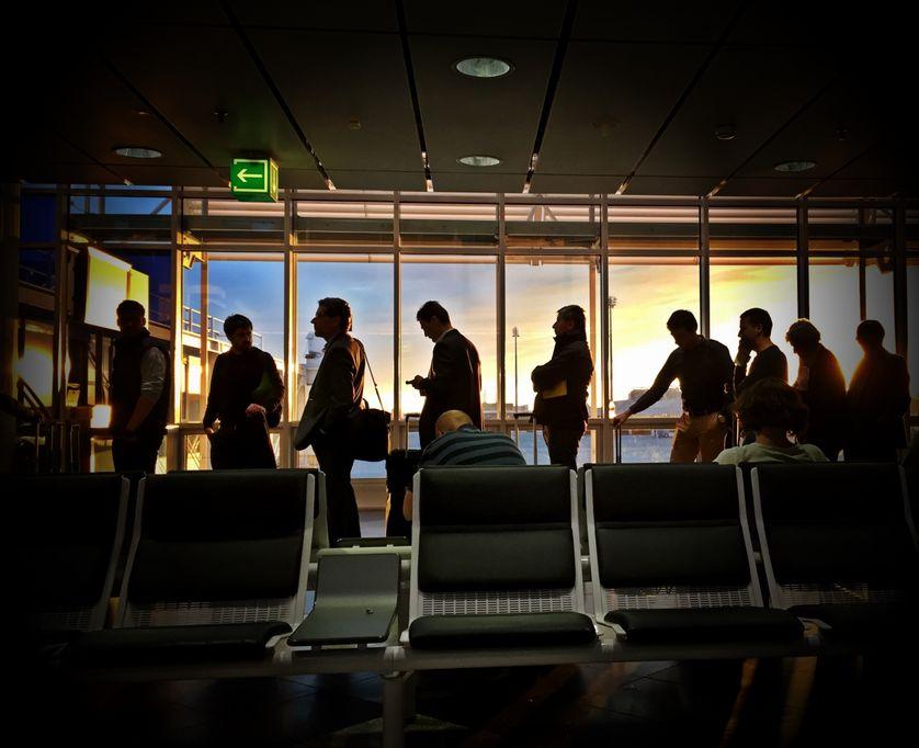 File d'attente à l'aéroport