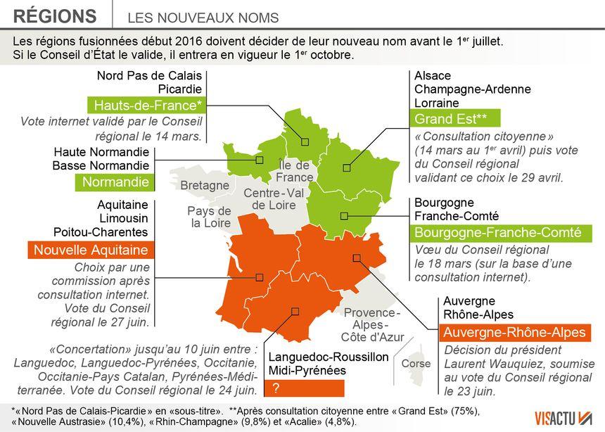 Les nouveaux noms des régions françaises.