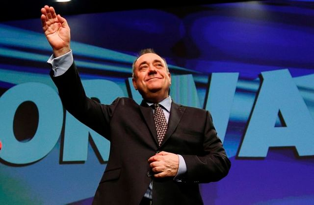 scotland's first minister salmond acknowledges applause following his speech at the snp spring conference in aberdeen