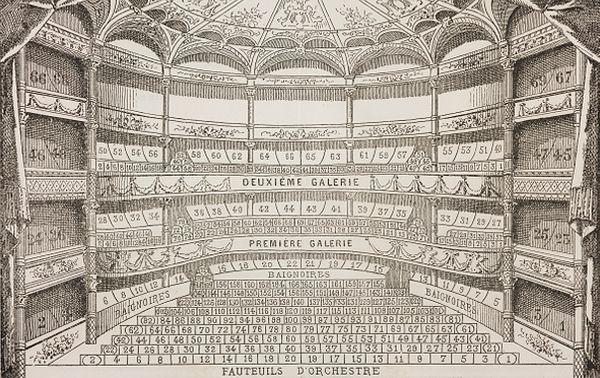 Theatre des Bouffes-Parisiens, seats, engraving... © DEA / BIBLIOTECA AMBROSIANA / Contributeur