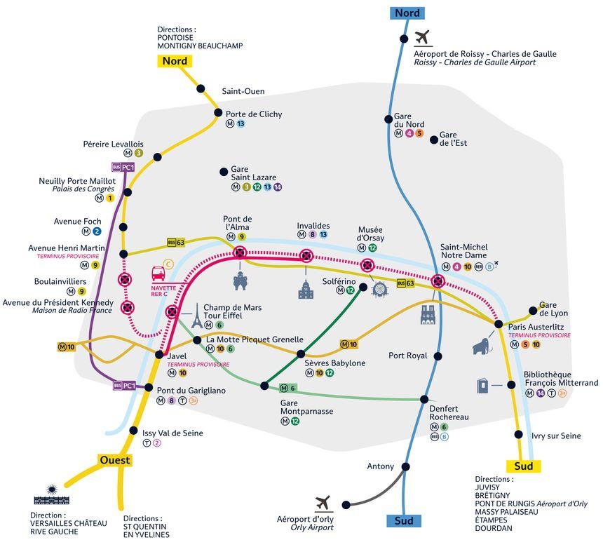 Le RER C sera interrompu de Paris Austerlitz à Javel et Avenue Henri Martin du 16 juillet au 27 août.