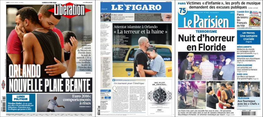 Unes de Libé, du Figaro et du Parisien après la tuerie d'Orlando en Floride