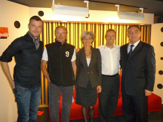 Mathieu Vidard, Jean-Pierre Haigneré, Claudie Haigneré, Jean-François Clervoy et Alexandre Skvortsov