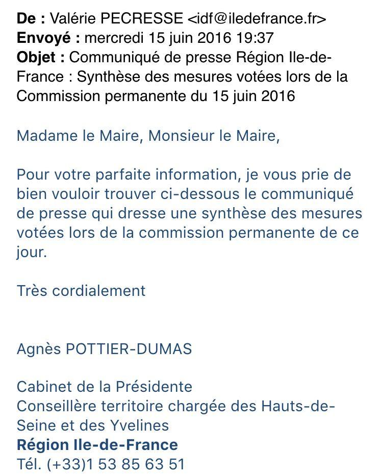 Mail envoyé par Agnes Pottier-Dumas à plusieurs élus des Hauts-de-Seine, le 15 juin, soit 15 jours après sa démission théorique