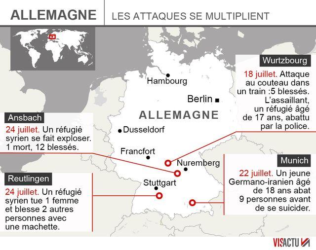carte de localisation des quatre attaque qu'à connu l'Allemagne en quelques jours