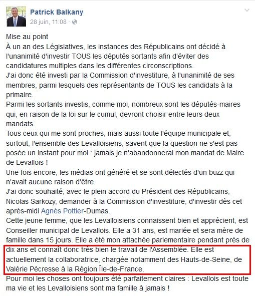 """Patrick Balkany confirmant la candidature d'Agnes Pottier Dumas qu'il présente comme """"collaboratrice de Valérie Pécresse."""