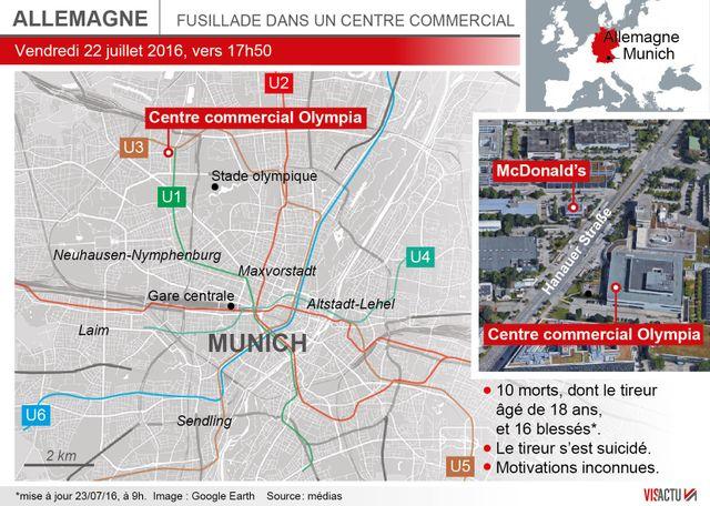 Localisation du centre commercial de Munich où la fusillade a eu lieu