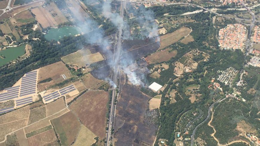 L'incendie entre le Boulou et Maureillas