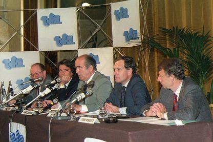Conférence de presse au cours de laquelle Francis Bouygues présente le nouvel organigramme de la chaine