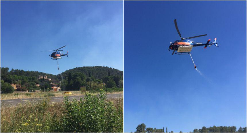 Deux hélicoptères présents depuis mardi matin pour appuyer les centaines de pompiers mobilisés au sol