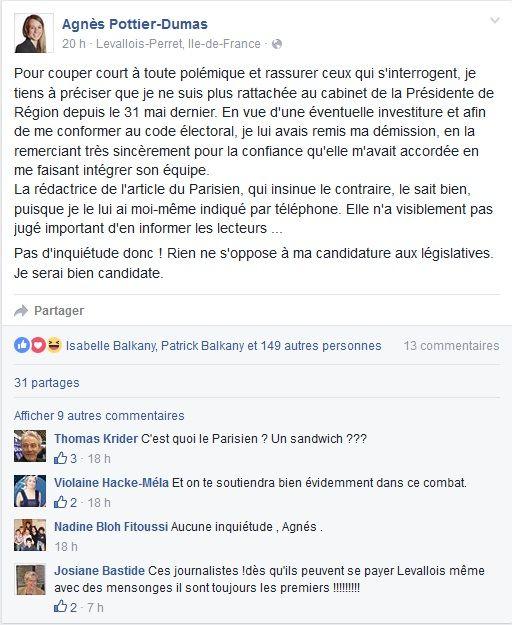 Agnes Pottier-Dumas affirmant avoir quitté le cabinet de Valérie Pécresse depuis le 31 mai.