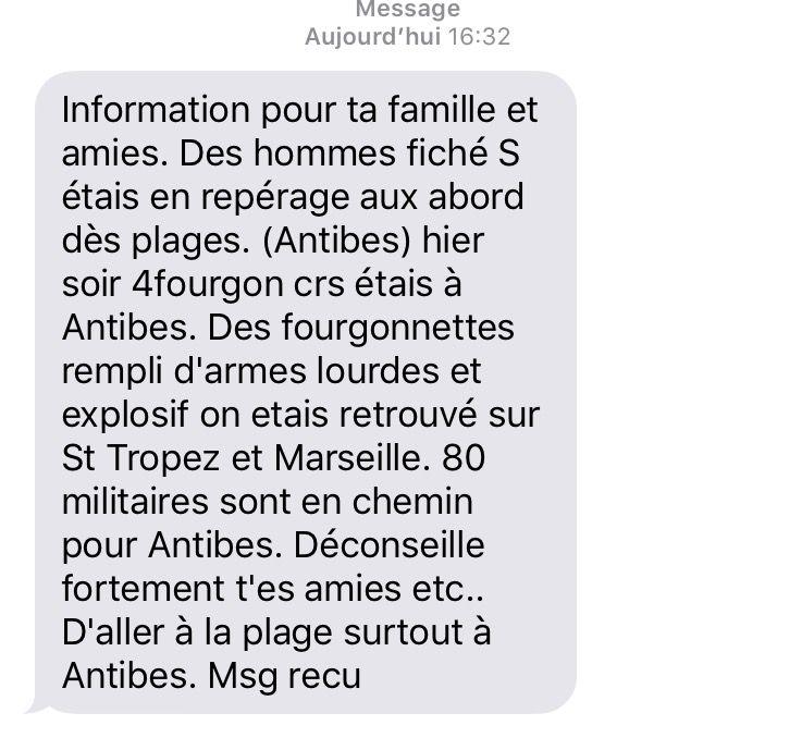 Le sms envoyé en masse dans le secteur d'Antibes Juan-Les-Pins