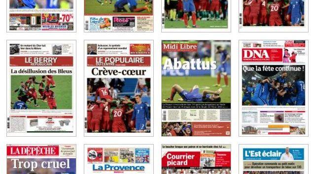 Les une des journaux français après la défaite des Bleus en Finale