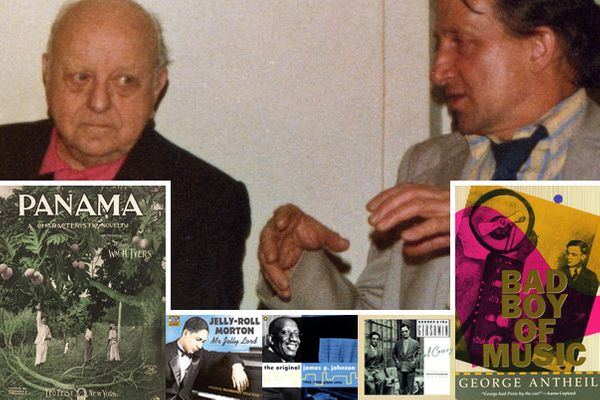 "Virgil Thomson & David Noakes chez Marcel Quillévéré à New York (1978) / Partition de Panama (1896) / CD Naxos Jerry Roll Morton / CD James P. Johnson joue Jesse Picket / CD Nonesuch Girl Crazy / Autobiographie G. Antheil-Ed S. French ""Bad Boy of Music"""
