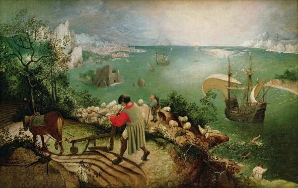 La chute d'Icare (détail), peinture de Peter Brueghel l'Ancien (1558)