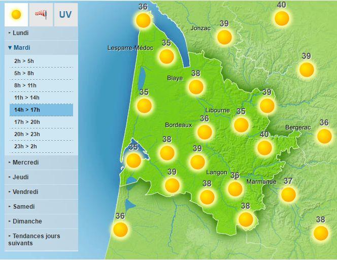 Les températures dépasseront allègrement les 35°C demain en Gironde.