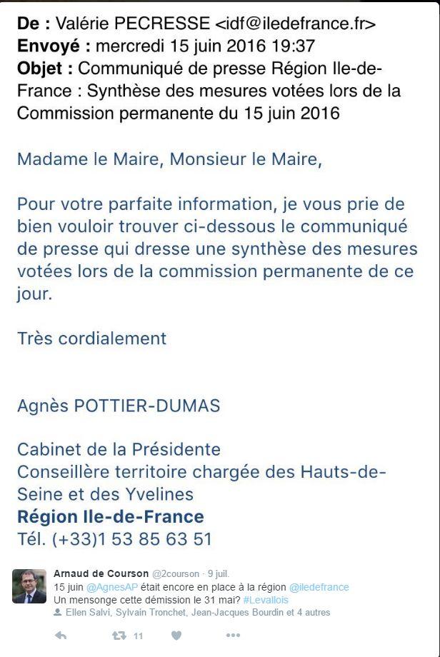 Mail publié sur le compte Twitter d'Arnaud de Courson