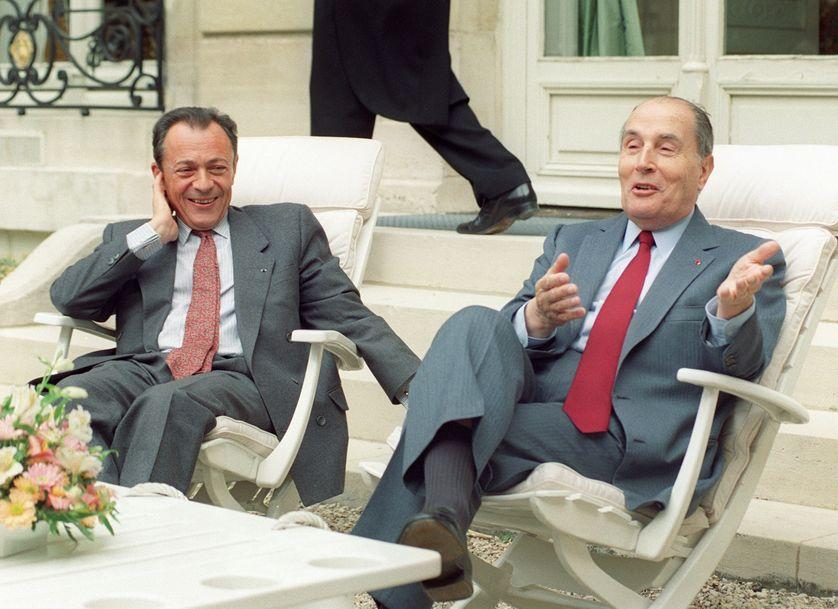 Michel Rocard avec François Mitterrand, le 1er mai 1990.