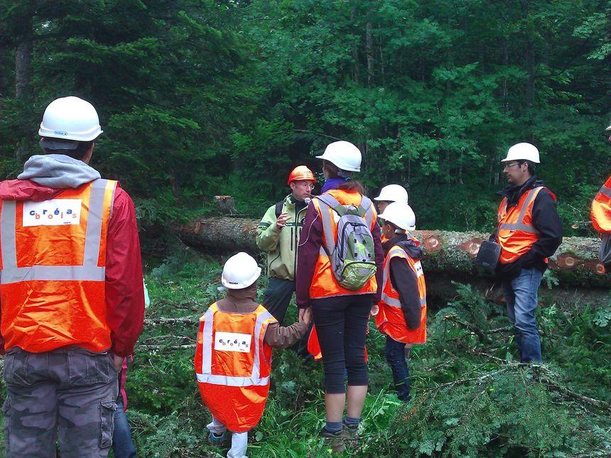 Rémi, le guide ONF, micro à la main, explique la forêt aux visiteurs