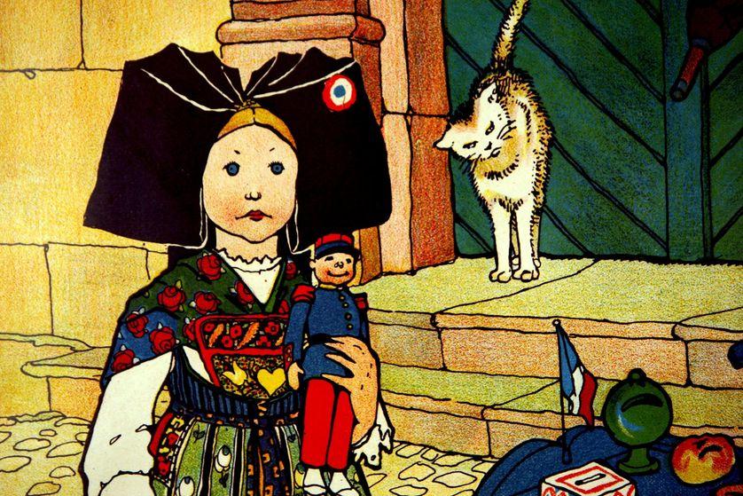 détail d'un dessin de Hansi, pris au Musée Hansi de Riquewihr