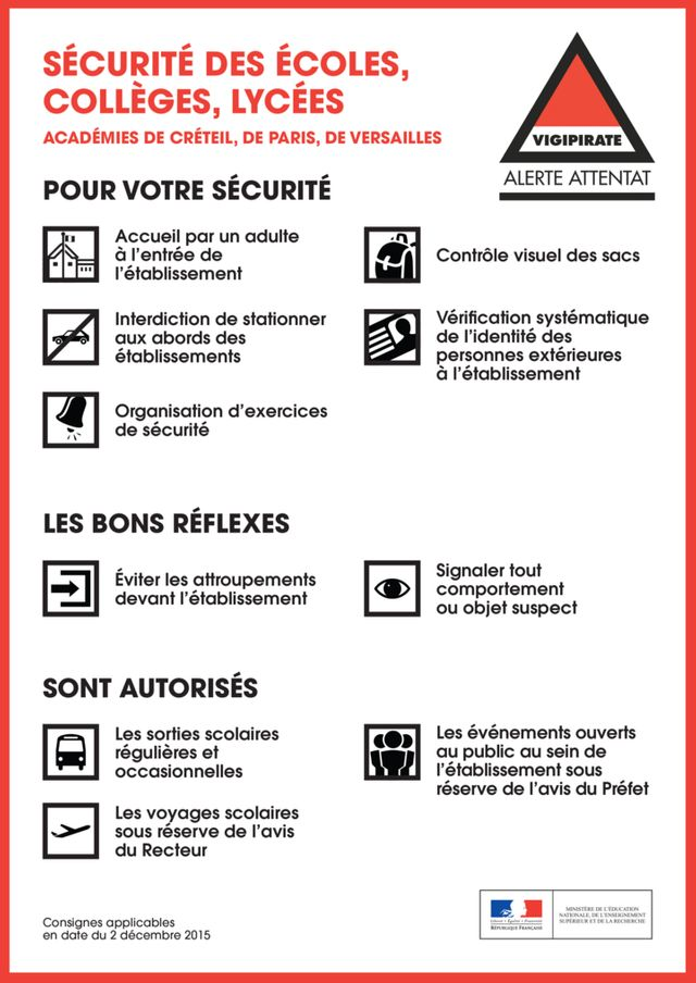 Les conseils de sécurité dans l'Académie de Paris-Créteil