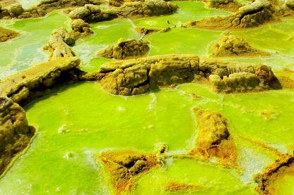 Formations salines et sulfureuses à Dallol en Ethiopie