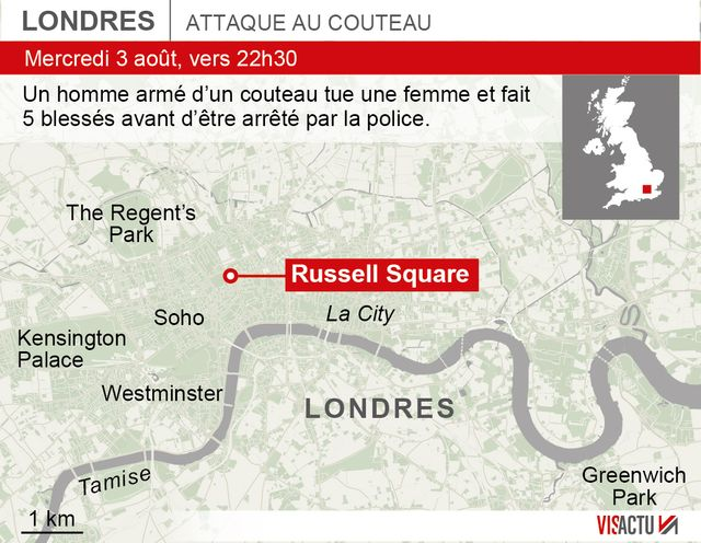 L'attaque a eu lieu a Russel Square, dans le centre de Londres