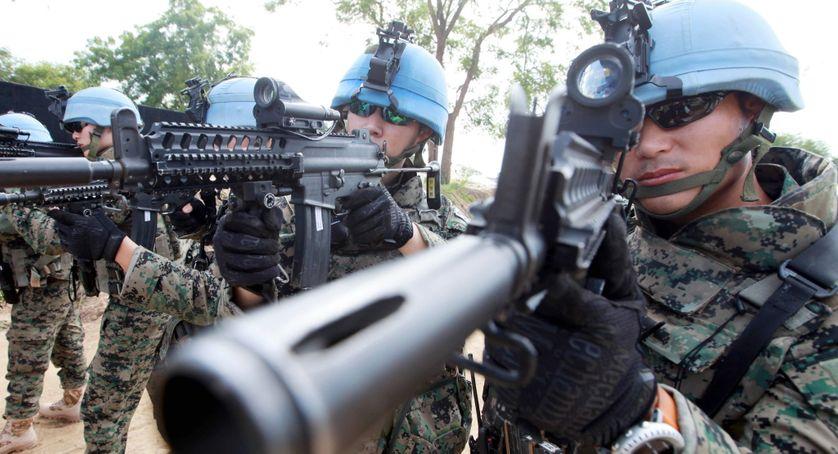 Sud Soudan,  Membres du contingent Sud-Coréen, Hanbit unit, en opération,  base ville de Bor, Jonglei State, 06/07/2015.