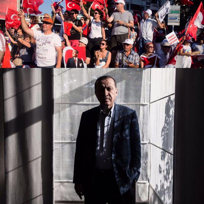 Manifestation de Turcs contre le putsch sur la place Taksim, le 24/07/2016 (source Maxpp) et portrait d'Erdogan à Istanbul, le 6 août, paru avec son interview au Monde, le 8 août 2016