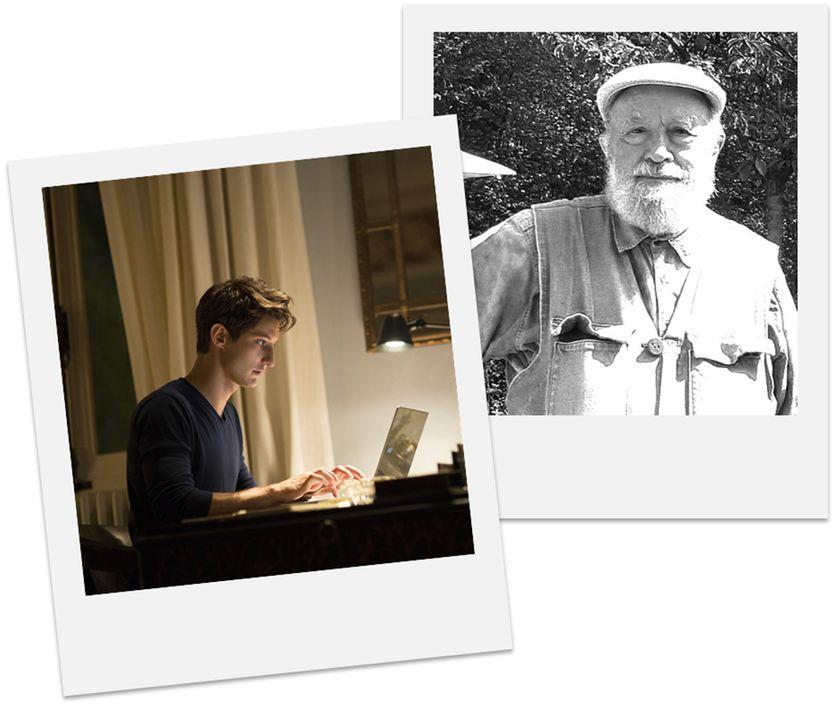 """Jeune romancier au travail (Pierre Niney dans """"Un homme idéal"""" © Mars Distribution) / Michel Butor (© domaine public)"""