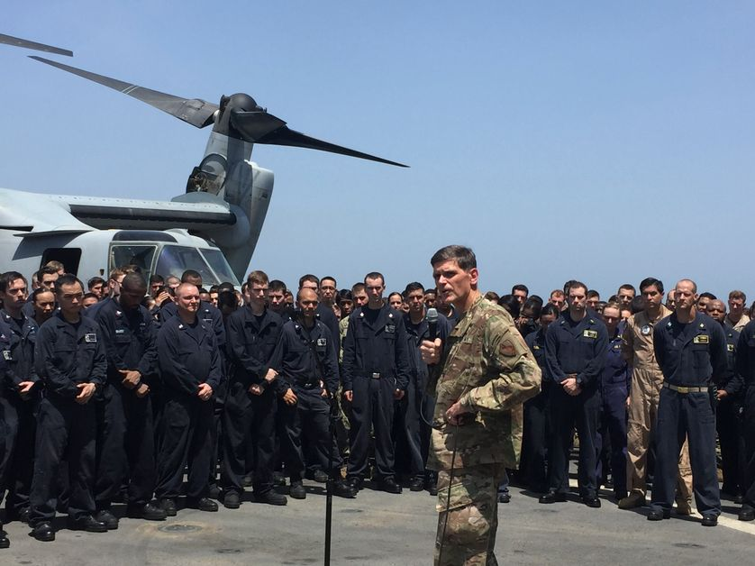 General Joseph Votel, the head of the U.S. military?s Central Command, speaks aboard the USS New Orleans, an amphibious dock ship, as it travels through the Strait of Hormuz July 11, 2016.