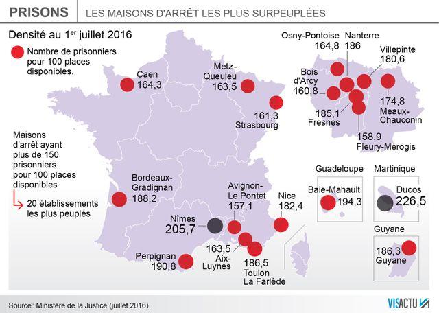 Infographie : le record de surpopulation carcérale a été atteint
