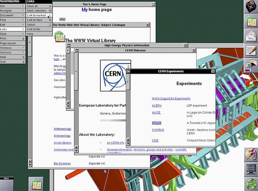 Copie d'écran du navigateur web NeXT en 1993