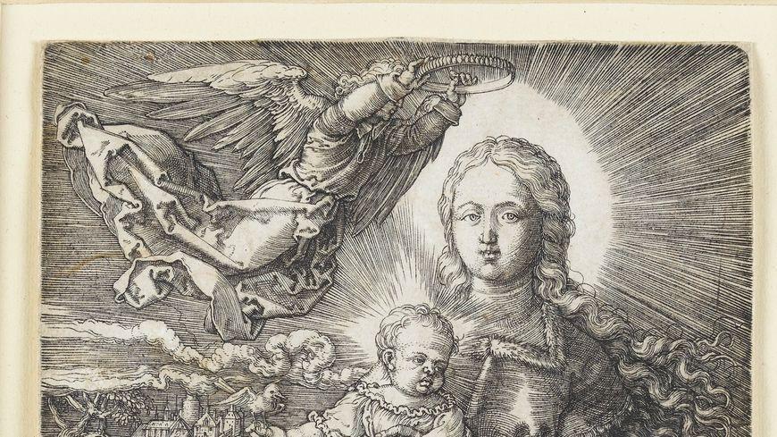 """La gravure intitulée """"Maria von einem Engel gekrönnt"""" d'Albrecht Dürer date de 1520"""