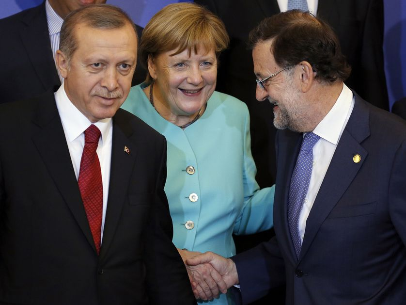 Recep Tayyip Erdogan, Angela Merkel et Mariano Rajoy le 8 juillet dernier au sommet de l'OTAN à Varsovie