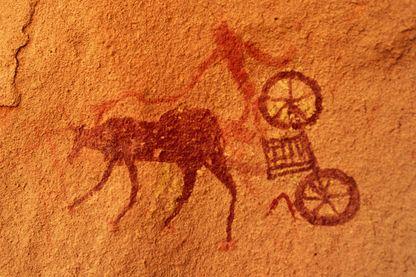 Peinture rupestre d'un char