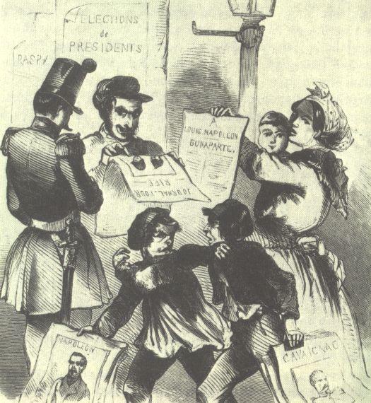 Campagne électorale Napoléon-Cavaignac, publié dans l'Illustrierte Zeitung, 1848