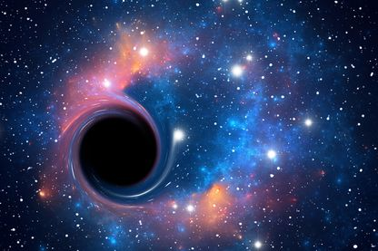 Black hole against starfield, artwork