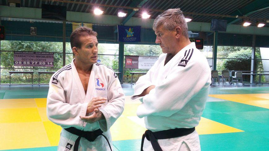 Cyril Jonard (à gauche) et son entraîneur, Richard Halouin, lors du dernier entraînement avant le départ aux JO.