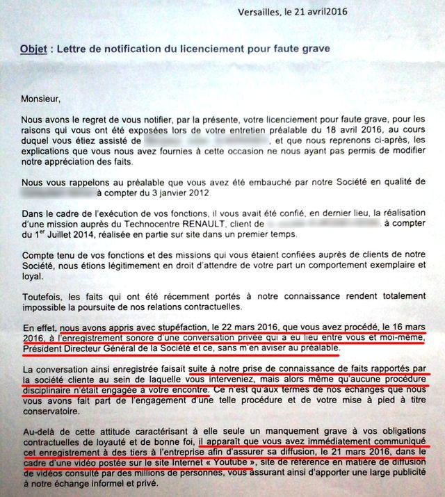 Extrait de la lettre de licenciement pour faute grave du salarié