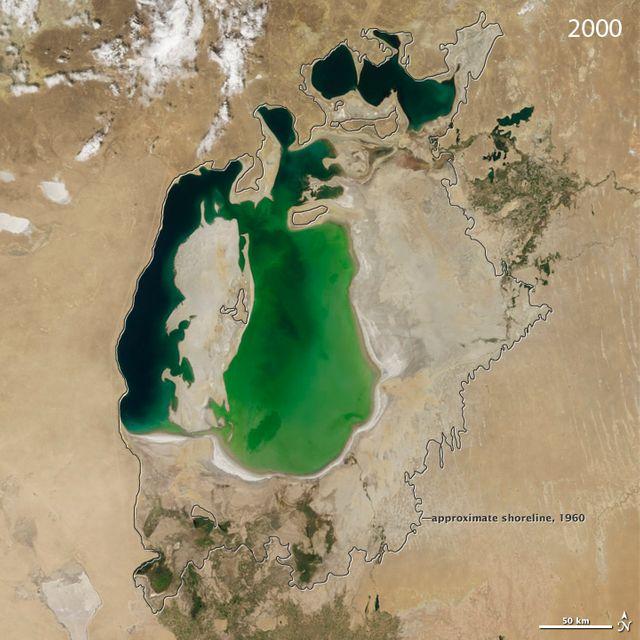 La mer d'Aral en 200, comparée à sa taille de 1960